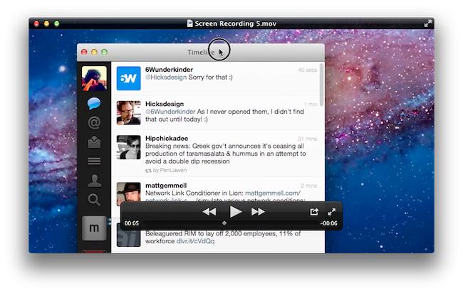 Lion's QuickTime Player